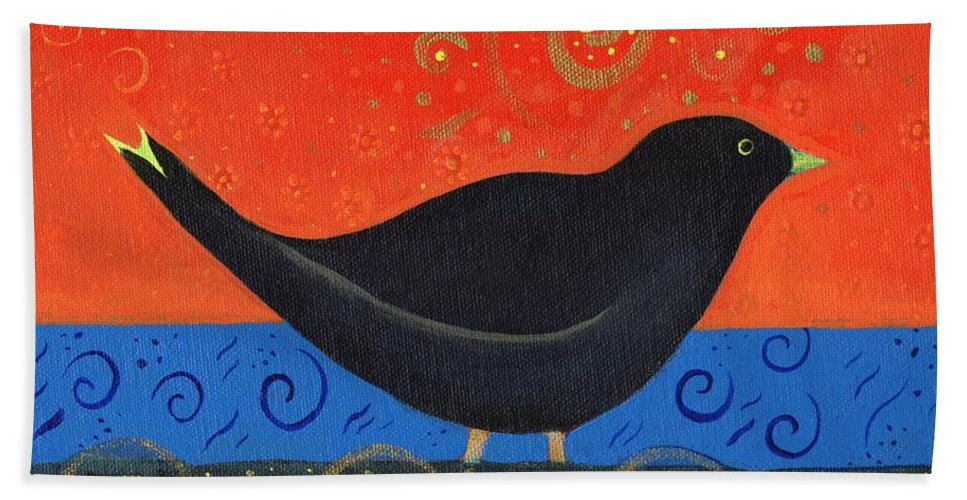 Black Bird Hand Towel featuring the painting Love Of Birds by Helena Tiainen