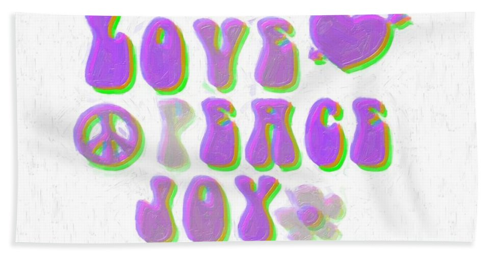 Illustration Bath Sheet featuring the painting Love Peace And Joy 11 by Celestial Images