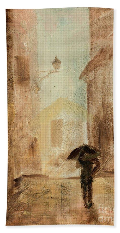 Walk In The Rain Bath Sheet featuring the painting Love The Rain by Jodi Monahan
