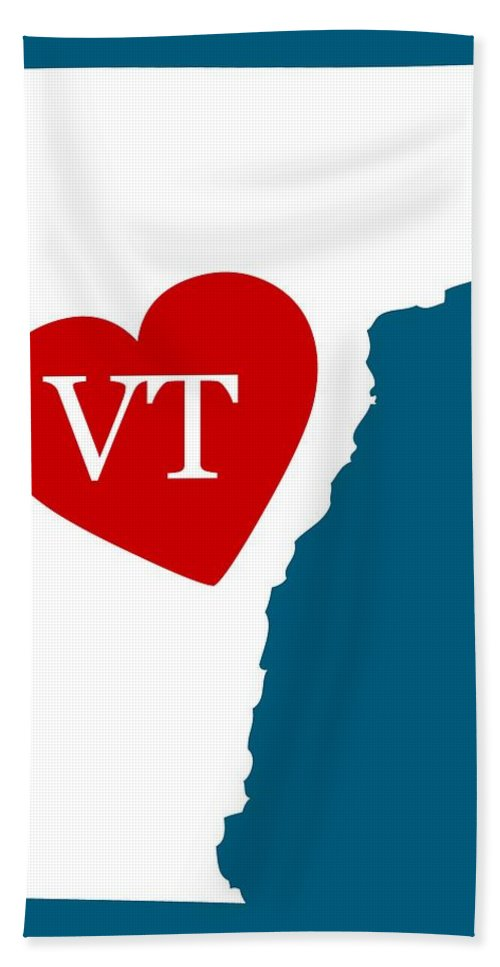 Vermont Hand Towel featuring the digital art Love Vermont White by Custom Home Fashions