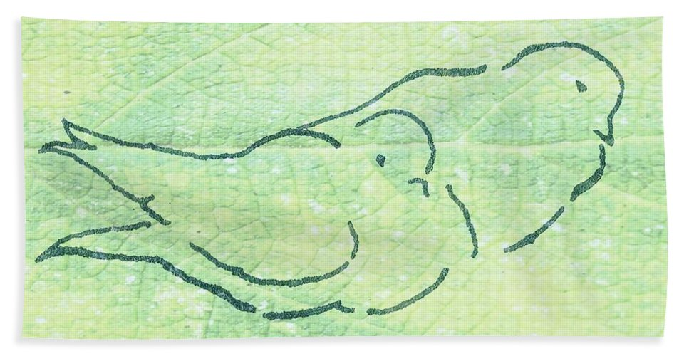 Two Birds Hand Towel featuring the digital art Lovebirds On Green by Valerie Reeves