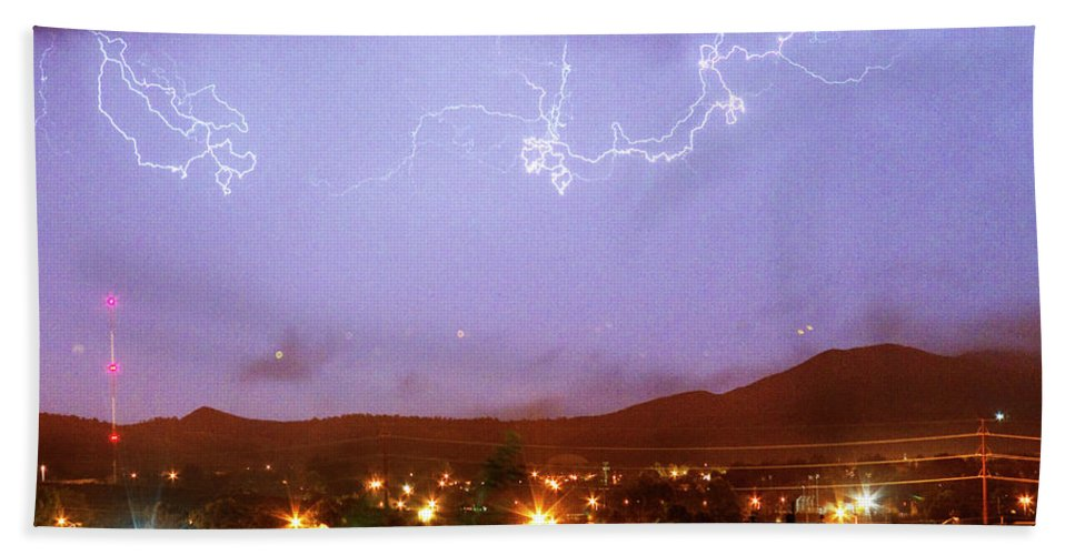 Boulder County Bath Sheet featuring the photograph Loveland Colorado Front Range Foothills Lightning Thunderstorm by James BO Insogna