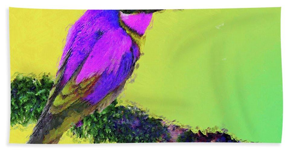 Bird Hand Towel featuring the digital art Lovely Bird by MS Fineart Creations