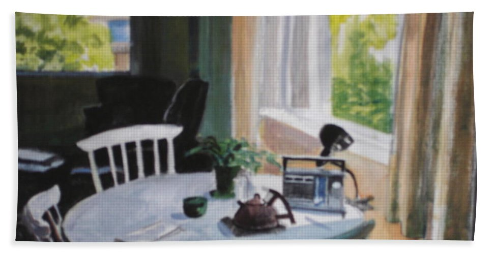 Table Bath Sheet featuring the painting Lovely Small Apartment by Emily Gibson