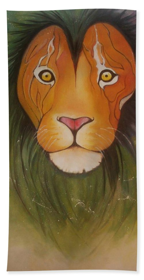 #lion #oilpainting #animal #colorful Hand Towel featuring the painting Lovelylion by Anne Sue