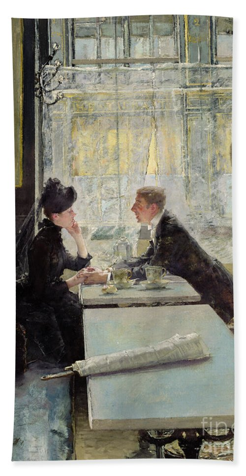 Lovers In A Cafe (panel) By Gotthardt Johann Kuehl (1850-1915) Hand Towel featuring the painting Lovers In A Cafe by Gotthardt Johann Kuehl