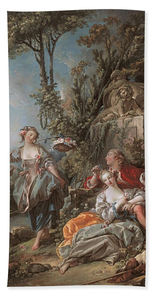 French Artist Hand Towel featuring the painting Lovers In A Park by Francois Boucher