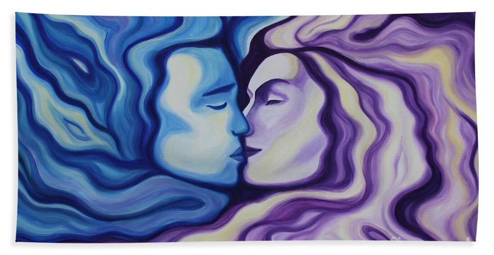 Acrylic Hand Towel featuring the painting Lovers In Eternal Kiss by Jindra Noewi