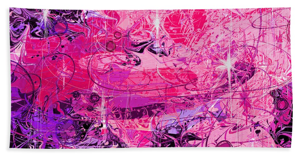 Abstract Hand Towel featuring the digital art Lovers by Rachel Christine Nowicki