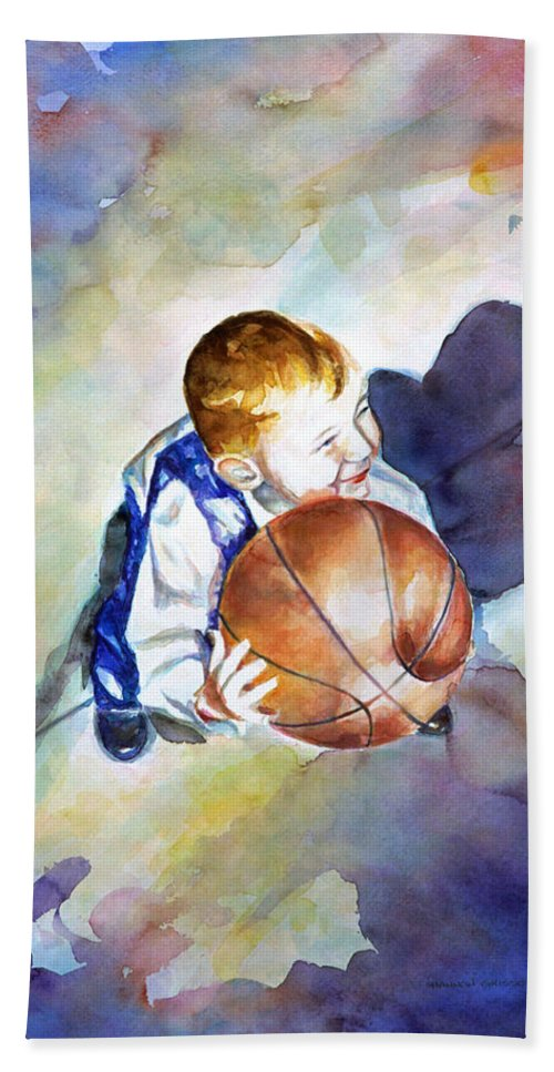 Watercolor Bath Towel featuring the painting Loves the Game by Shannon Grissom