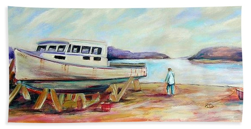 Boat Bath Sheet featuring the painting Lovie by Patricia Piffath