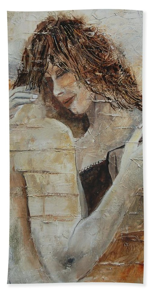 Girl Bath Sheet featuring the painting Loving Couple by Pol Ledent