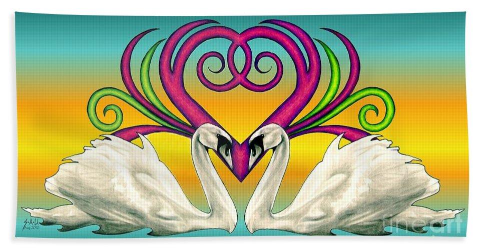 Swan Bath Sheet featuring the drawing Loving Souls by Sheryl Unwin