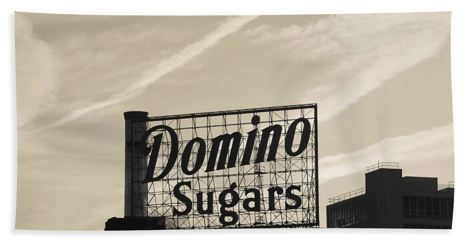 Photography Bath Sheet featuring the photograph Low Angle View Of Domino Sugar Sign by Panoramic Images