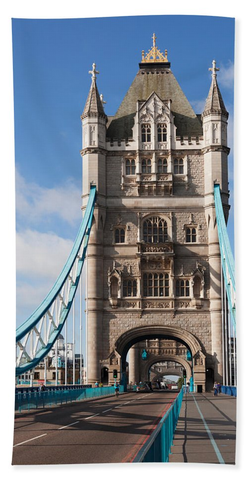 Photography Bath Sheet featuring the photograph Low Angle View Of Tower Bridge, London by Panoramic Images