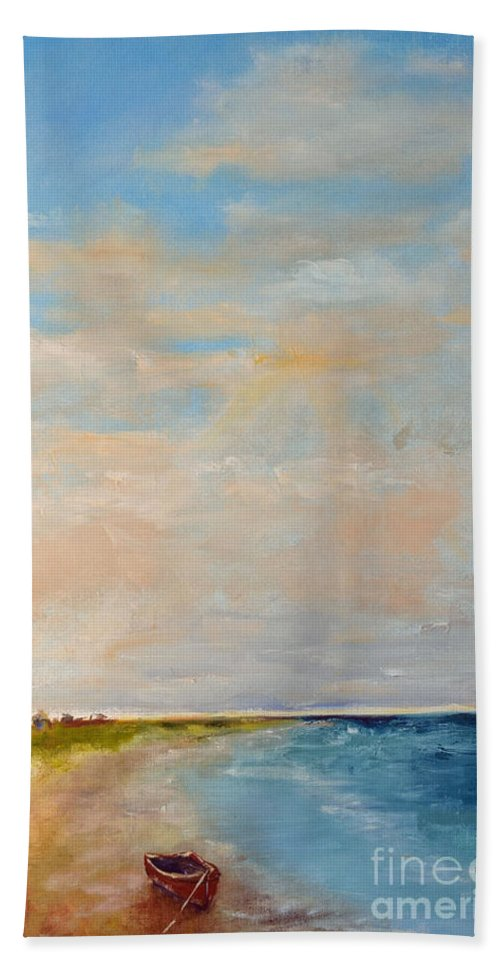 Low Hand Towel featuring the painting Low Tide by Patricia Caldwell