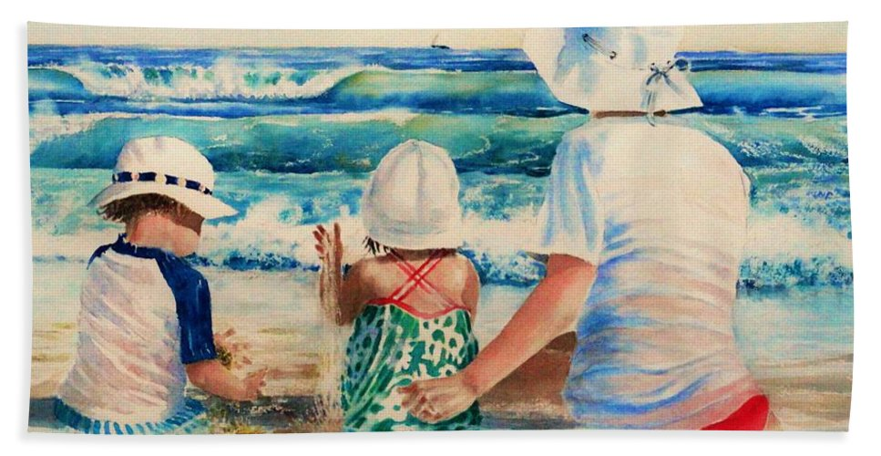 Beach Hand Towel featuring the painting Low Tide by Tom Harris