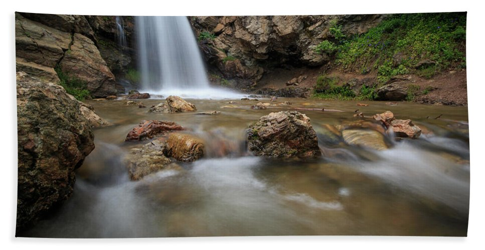 Trailsxposed Bath Sheet featuring the photograph Lower Adams Canyon Falls by Gina Herbert