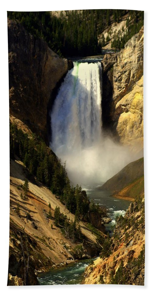 Yellowstone National Park Bath Sheet featuring the photograph Lower Falls 2 by Marty Koch
