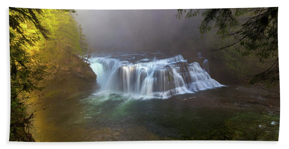 Lower Lewis Hand Towel featuring the photograph Lower Lewis Falls Foggy Morning by David Gn