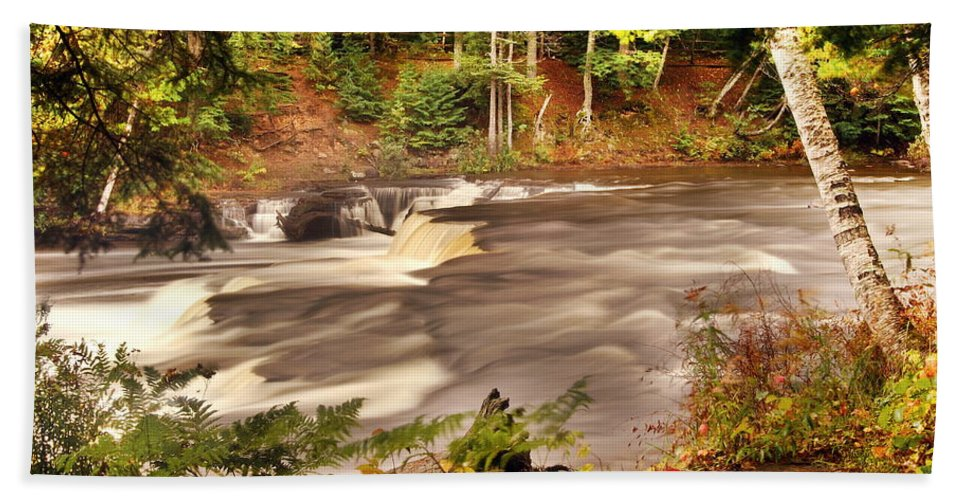 Tahquamenon Falls Hand Towel featuring the photograph Lower Tahquamenon Falls 1 by Michael Peychich