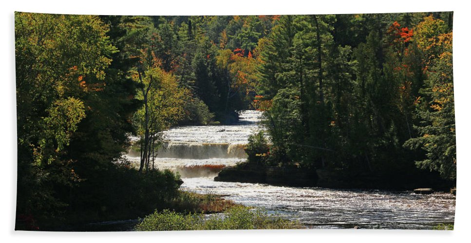 Lower Tahquamenon Falls Hand Towel featuring the photograph Lower Tahquamenon Falls 4349 by Jack Schultz