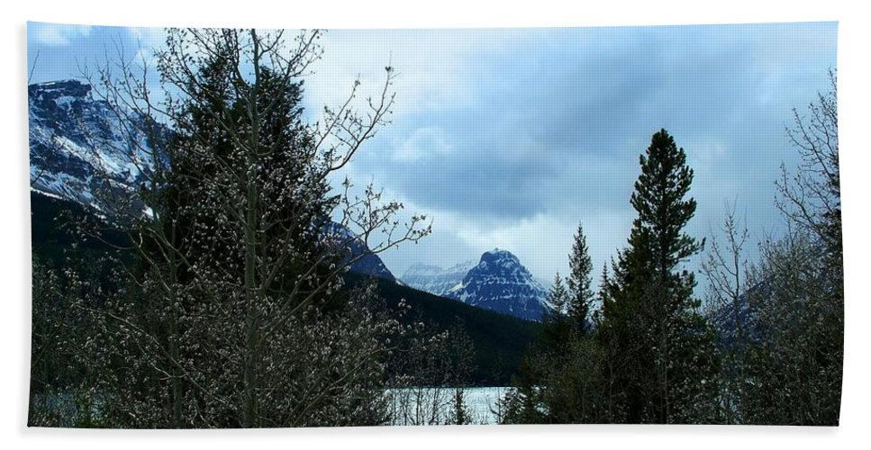 Two Medicine Lake Bath Sheet featuring the photograph Lower Two Med Lake Through The Trees by Tracey Vivar