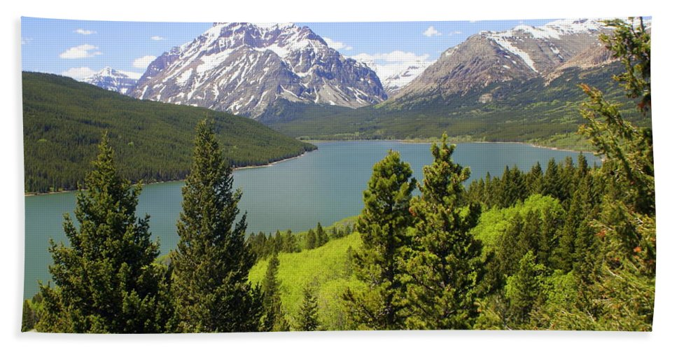 Two Medicine Lake Bath Sheet featuring the photograph Lower Two Medicine Lake by Marty Koch