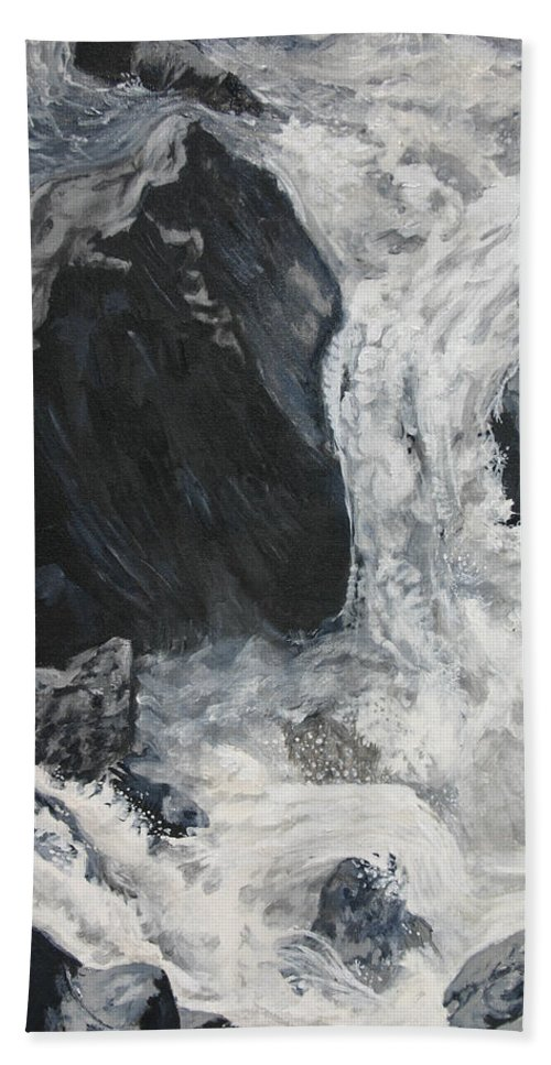 Water Hand Towel featuring the painting Lower Vernal Black And White by Travis Day