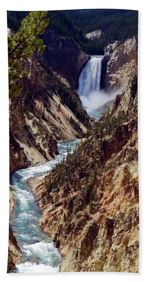 Lower Yellowstone Falls Bath Sheet featuring the photograph Lower Yellowstone Falls And River by Sally Weigand