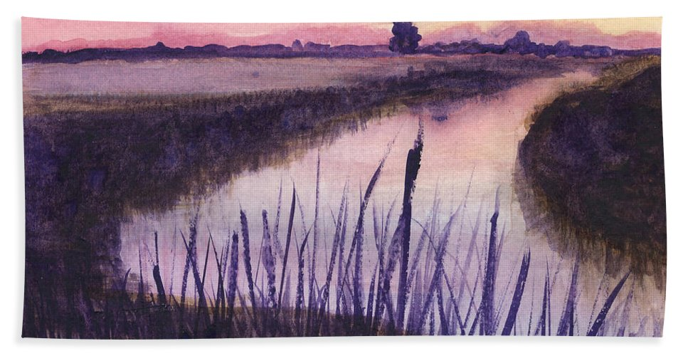 Everglades. Loxahatchee Hand Towel featuring the painting Loxahatchee Sunset by Donna Walsh