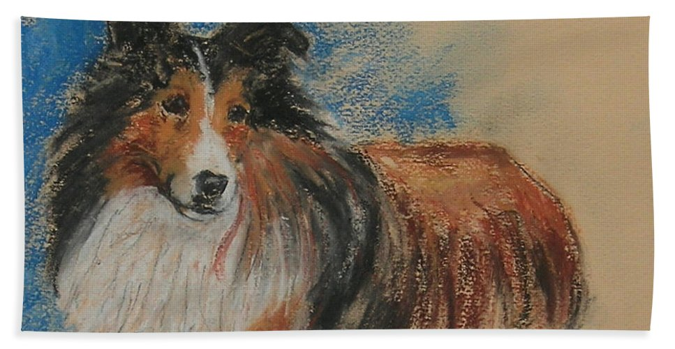 Sheltie Hand Towel featuring the drawing Loyal Companion by Cori Solomon