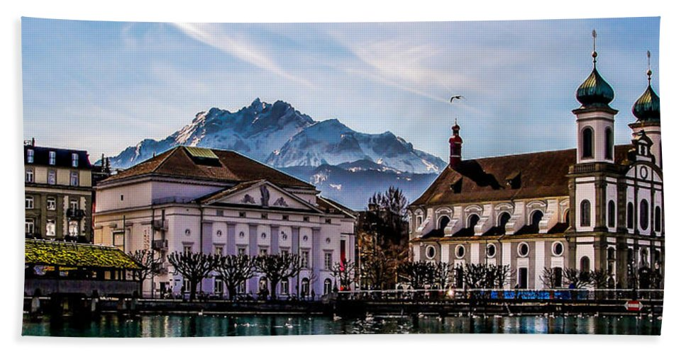 Lake Lucerne Hand Towel featuring the photograph Lucerne's Architecture by TK Goforth