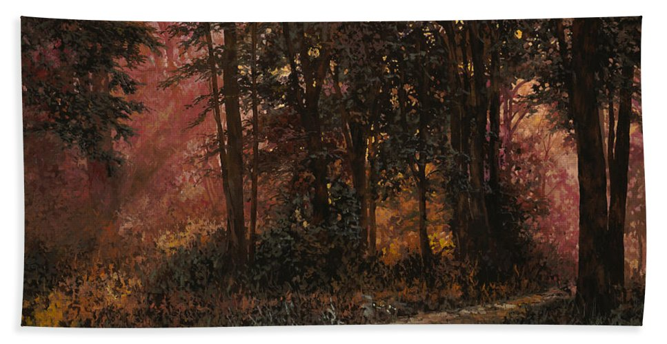 Wood Bath Towel featuring the painting Luci Nel Bosco by Guido Borelli