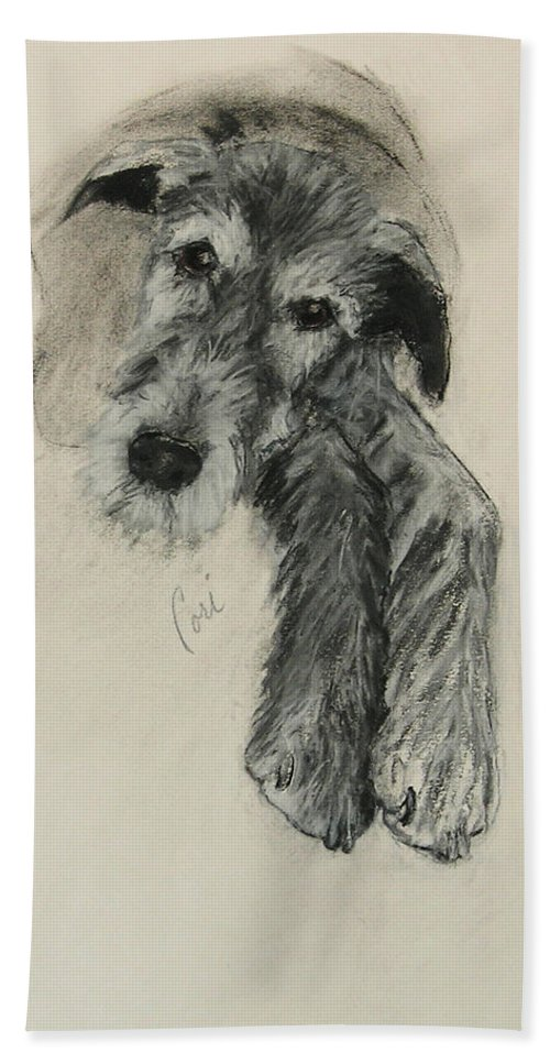 Irish Wolfhound Hand Towel featuring the drawing Luck Of The Irish by Cori Solomon