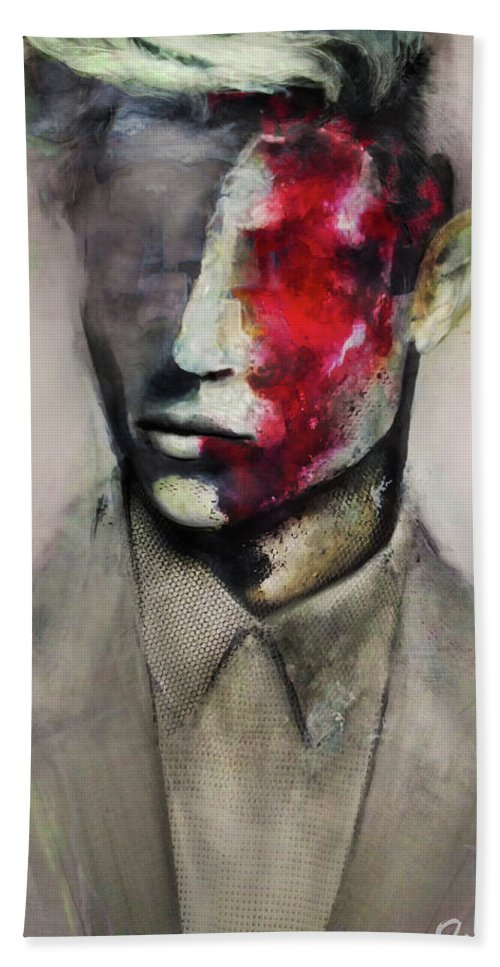 Abstract Surreal Portrait Painting Man Fashion Illustration Hand Towel featuring the painting Lucky by Anna Madarasz
