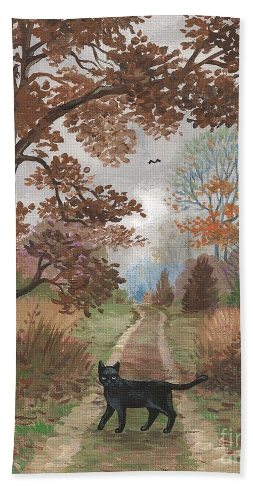 Print Bath Sheet featuring the painting Lucky Crossing by Margaryta Yermolayeva