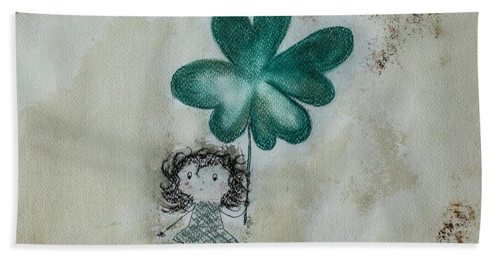 Little Girl Bath Sheet featuring the mixed media Lucky by Justyna Jucha