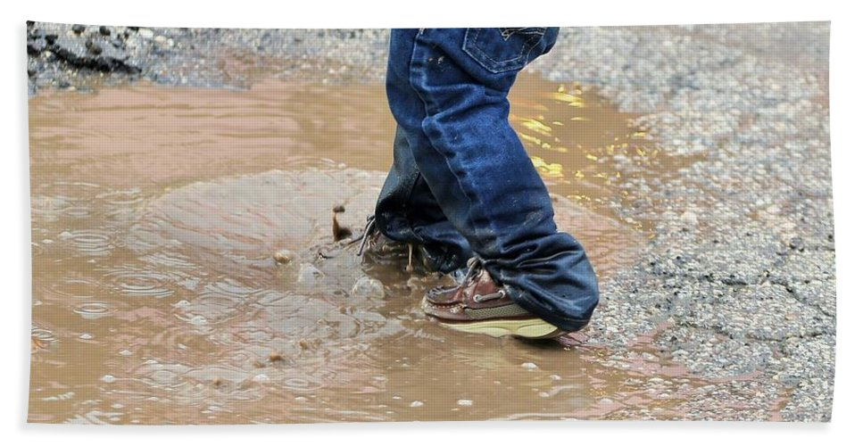 Landscape.hill Country.blue Jeans .kids Shoes.water Hole.water Puddle.sneakers.tote Bag.print.acrylic Bath Sheet featuring the photograph Lucky Puddle by Jeff Downs