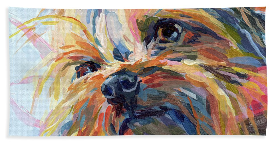 Yorkshire Terrier Bath Towel featuring the painting Lucy in the Sky by Kimberly Santini