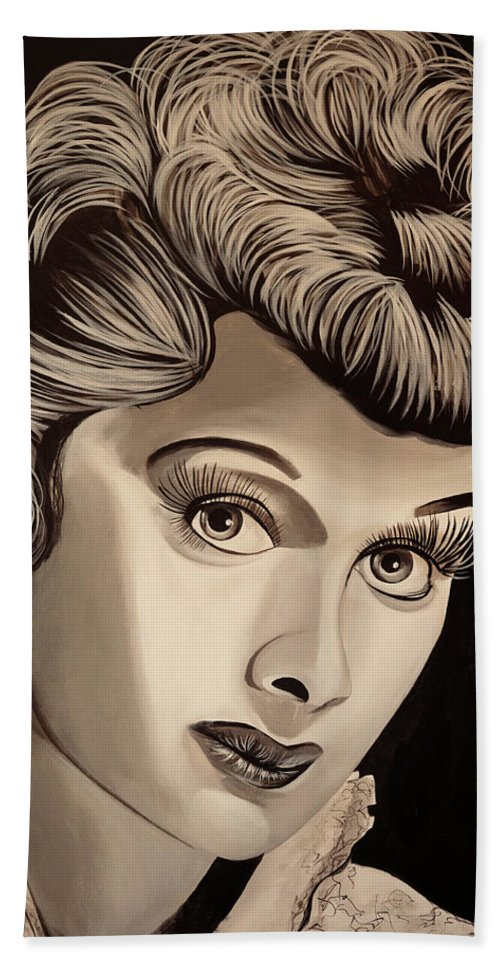 Lucy Hand Towel featuring the painting Lucy by Matt Brown