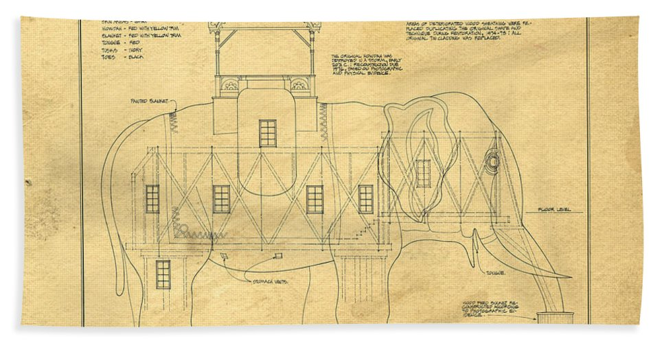 Lucy the elephant building patent blueprint hand towel for sale by lucy hand towel featuring the photograph lucy the elephant building patent blueprint by edward fielding malvernweather Images