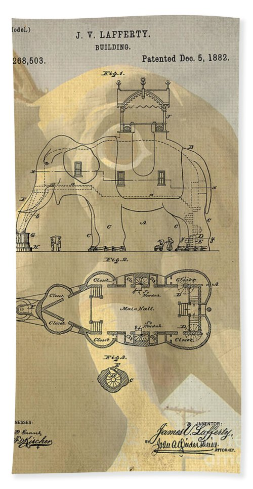 Lucy Hand Towel featuring the photograph Lucy The Elephant Building Patent by Edward Fielding