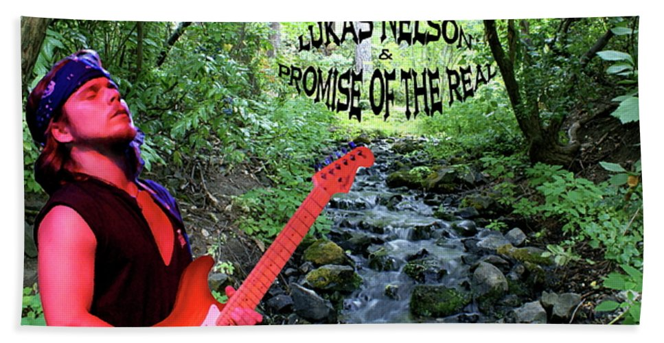 Lukas Nelson Bath Sheet featuring the photograph Lukas By The Creek 2 by Ben Upham