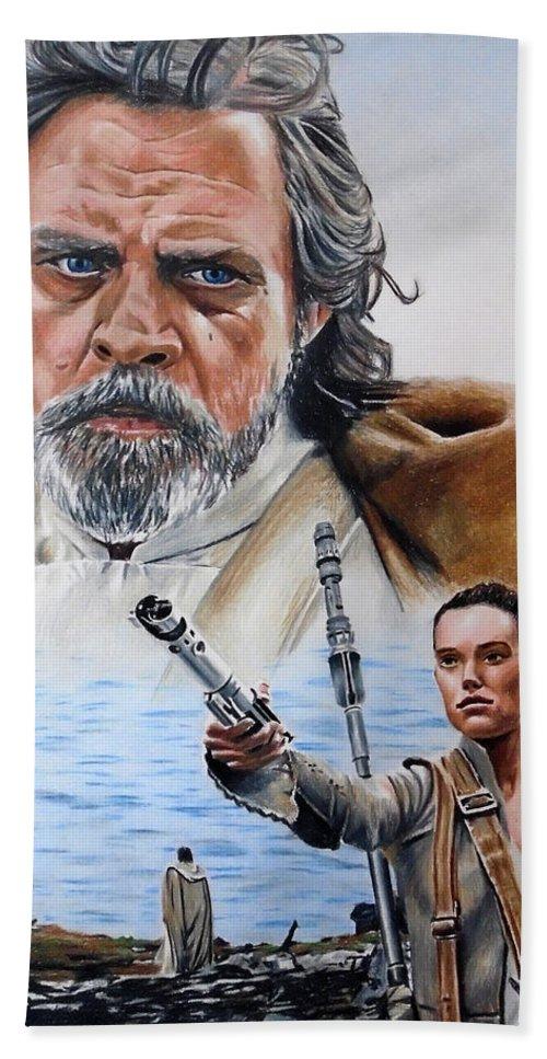 Star Wars Bath Sheet featuring the drawing Luke And Rey by Joseph Christensen