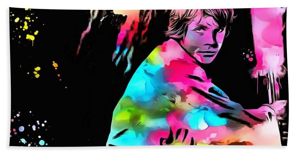 Luke Skywalker Paint Splatter Bath Sheet featuring the painting Luke Skywalker Paint Splatter by Dan Sproul