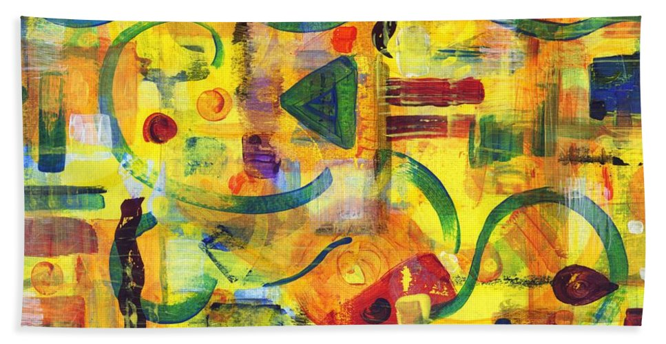 Abstract Hand Towel featuring the painting Luminal Progression by Melody Carr