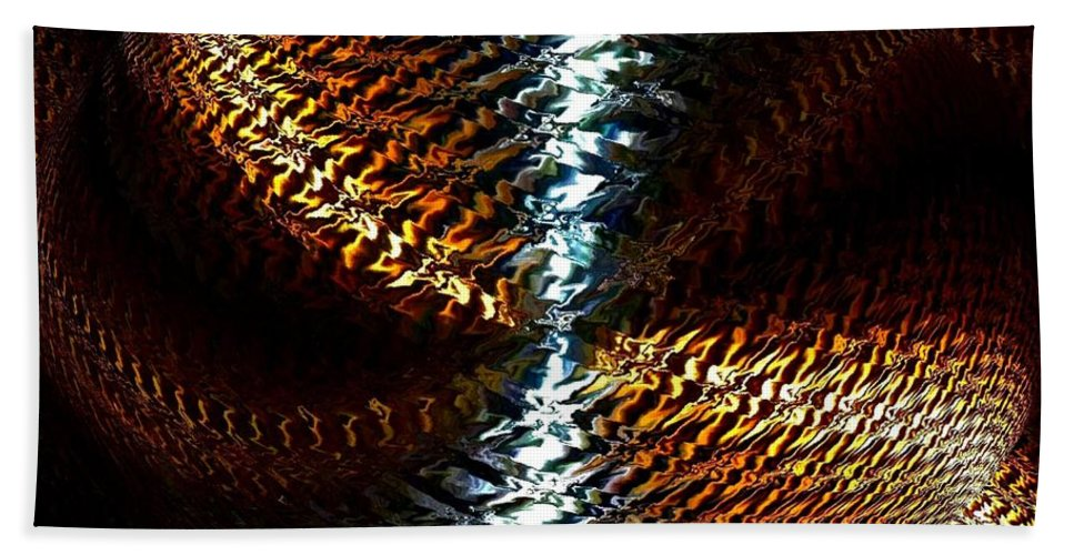 Abstract Hand Towel featuring the digital art Luminous Energy 10 by Will Borden