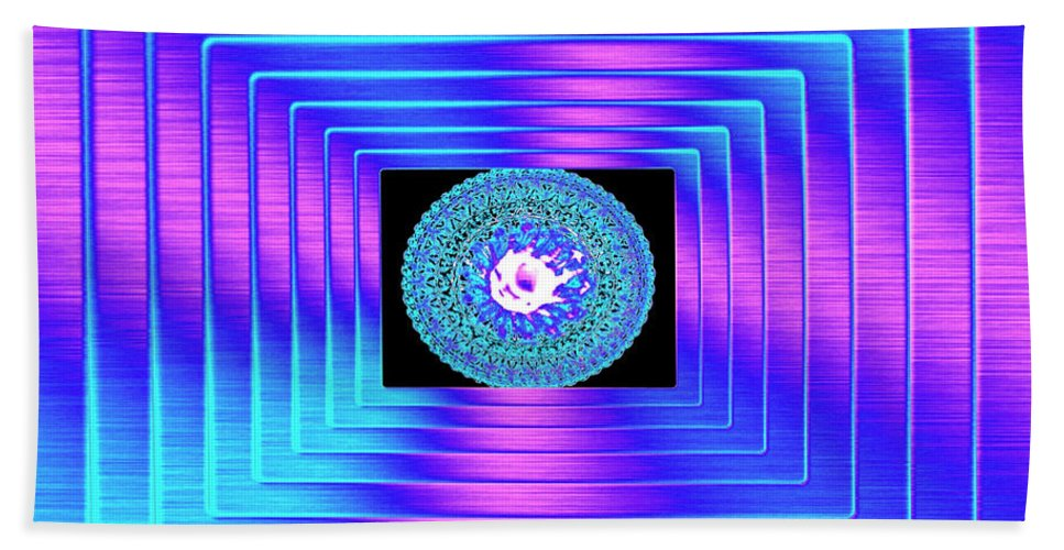 Abstract Bath Sheet featuring the digital art Luminous Energy 9 by Will Borden