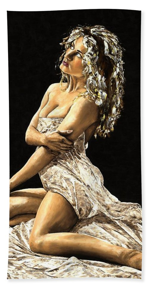 Nude Bath Towel featuring the painting Luminous by Richard Young
